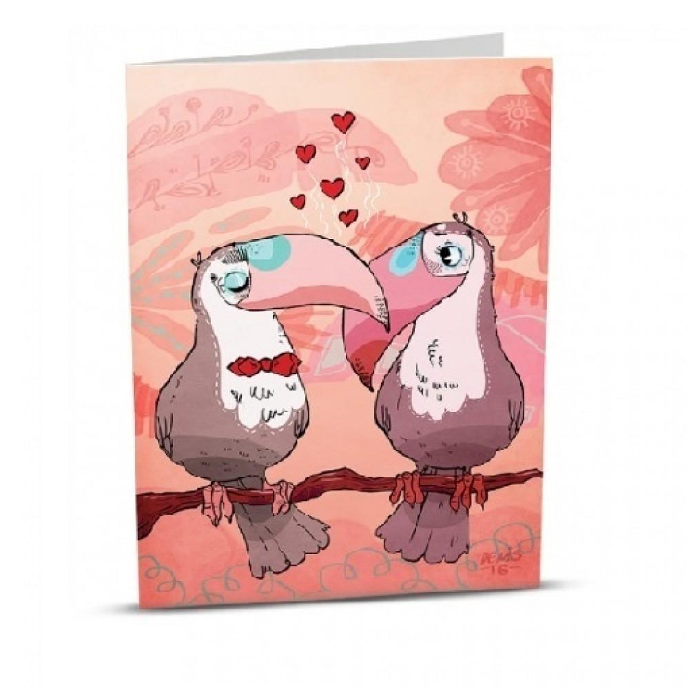 Картичка Влюбени птици